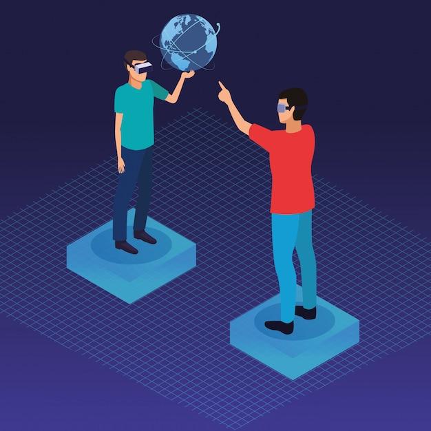 Par, tocando, com, virtual, realidade Vetor grátis