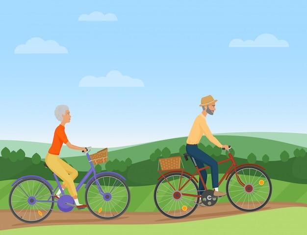 Par velho, montando, a, bicicletas, em, campo Vetor Premium