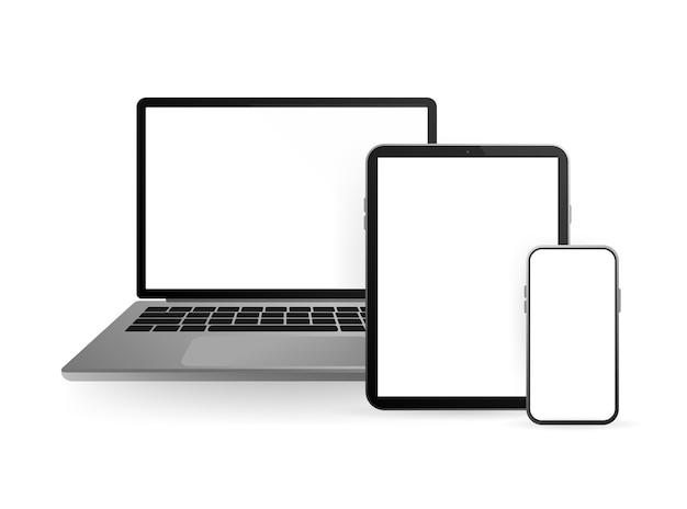 Para a web. tela do smartphone em branco, branca e transparente. tela em branco. ícone. Vetor Premium