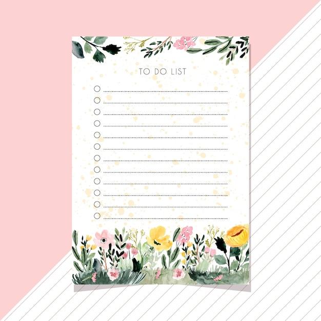 Para fazer notas de lista com fundo aquarela jardim floral. Vetor Premium