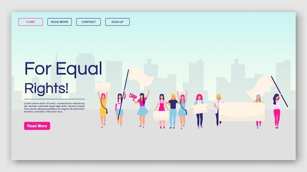 Para modelo de vetor de página de destino de direitos iguais. site de protesto feminista interface idéia com ilustrações planas. feminismo, layout de homepage do movimento de poder feminino. Vetor Premium