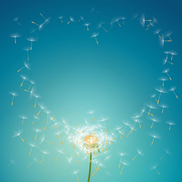 Pára-quedas voando de dente-de-leão formando fundo de quadro floral de amor Vetor Premium