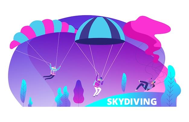 Pára-quedismo fundo com jumpers dos desenhos animados coloridos Vetor Premium