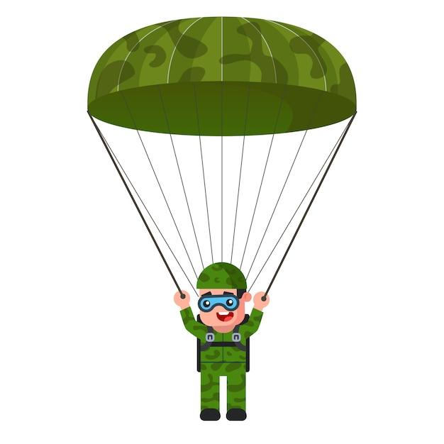 Pára-quedista na ilustração de uniforme militar cáqui Vetor Premium