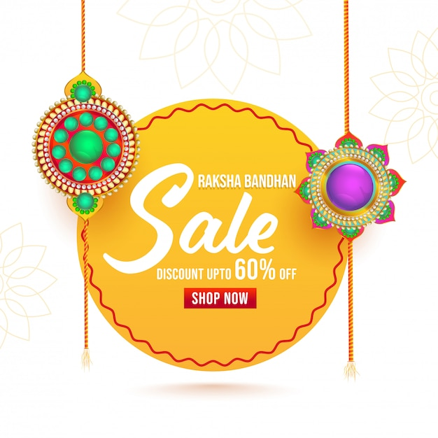 Para raksha bandhan sale poster com decorativas rakhis (pulseiras). Vetor Premium