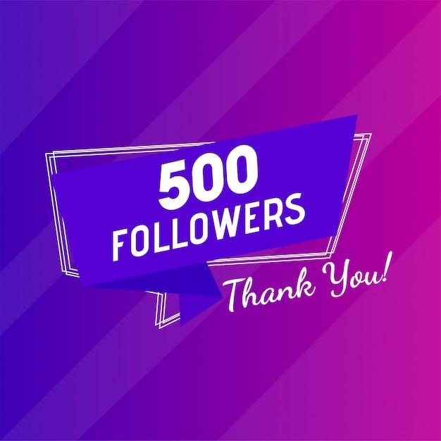 Parabéns 500 seguidores obrigado mensagem. Vetor Premium
