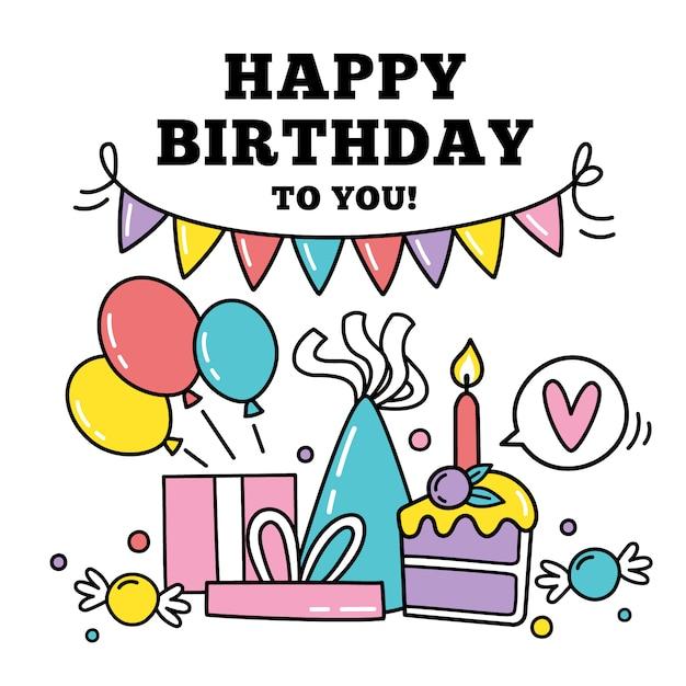 Parabéns de aniversário Vetor Premium