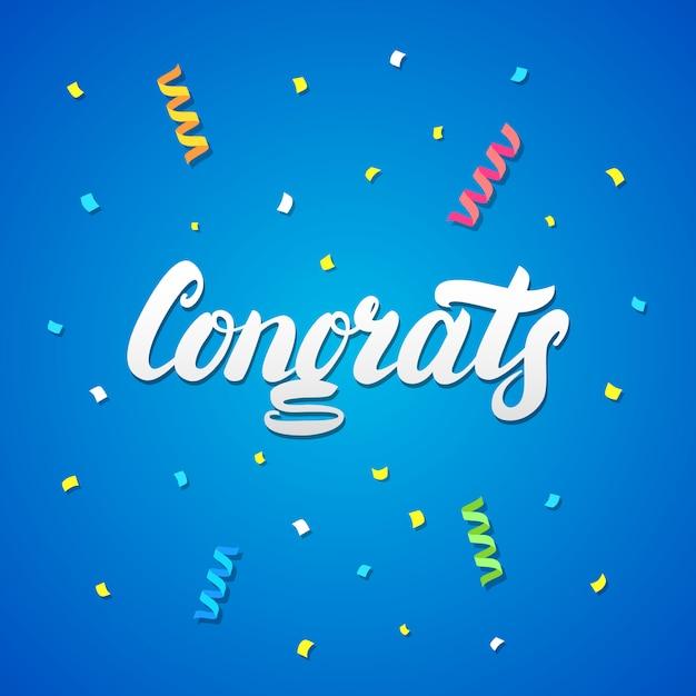 Parabéns escritos à mão lettering com confetes e serpentinas de papel Vetor Premium