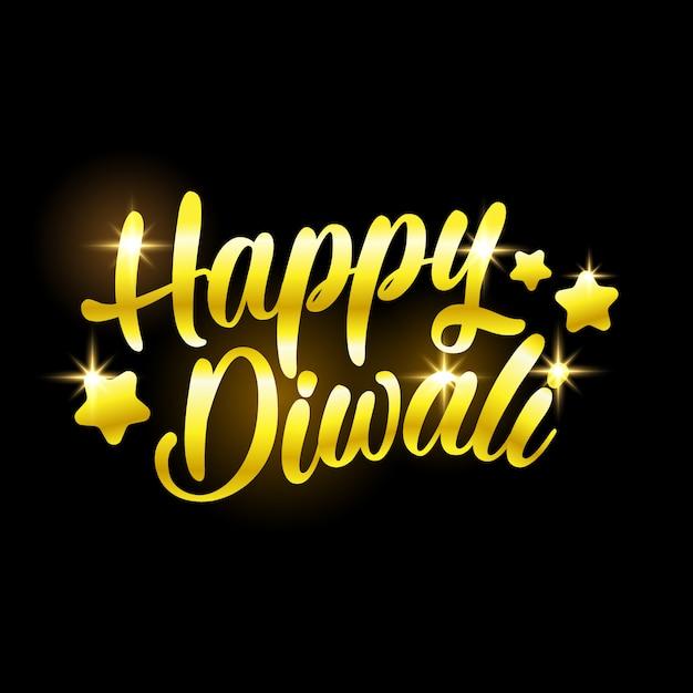 Parabéns feliz diwali dourado com estrelas no preto Vetor Premium