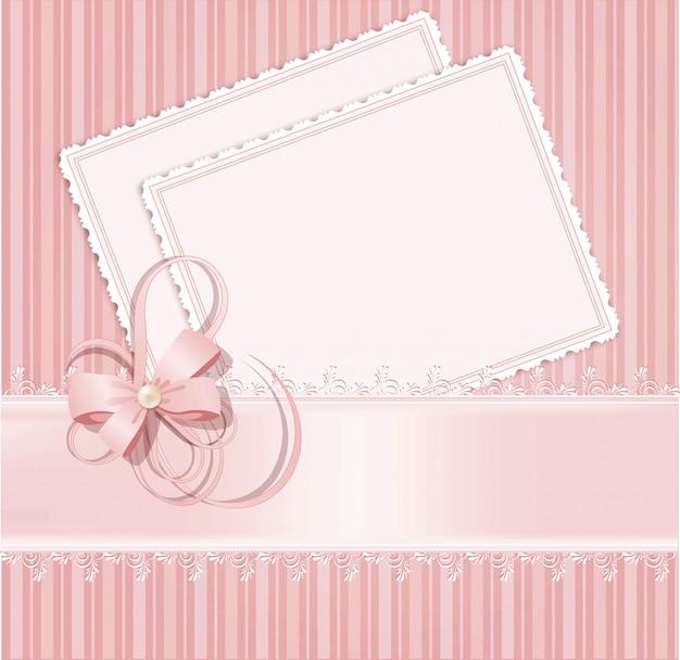 Parabéns fundo rosa com laço, fitas, arcos Vetor Premium