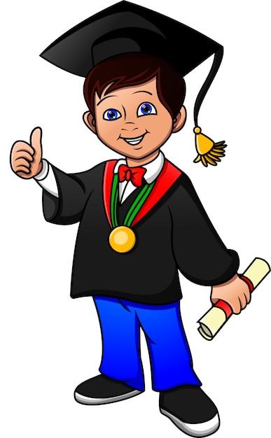 Parabéns jovem rapaz graduado Vetor Premium