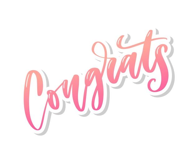 Parabéns mão escrita letras para cartão de felicitações, cartão, convite e impressão Vetor Premium