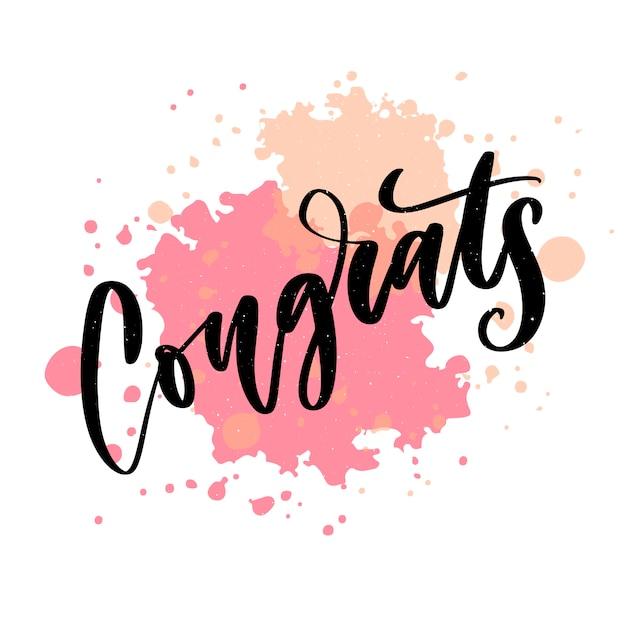 Parabéns mão escrita letras para cartão de felicitações, cartão de felicitações Vetor Premium