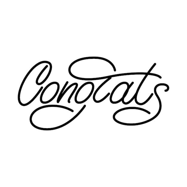 Parabéns monoline lettering Vetor Premium