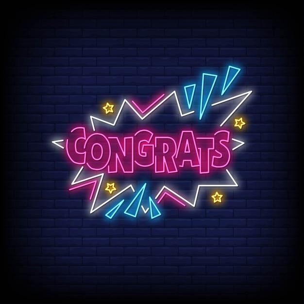 Parabéns palavra em estilo neon. parabéns sinais de néon. cartão de felicitações Vetor Premium