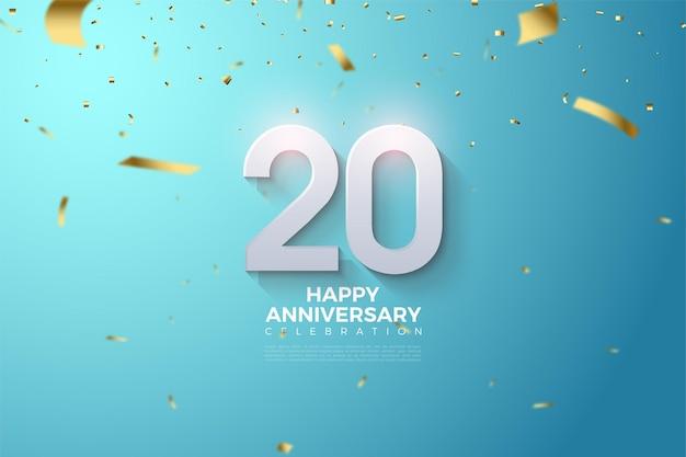 Parabéns pelos antecedentes do 20º aniversário Vetor Premium