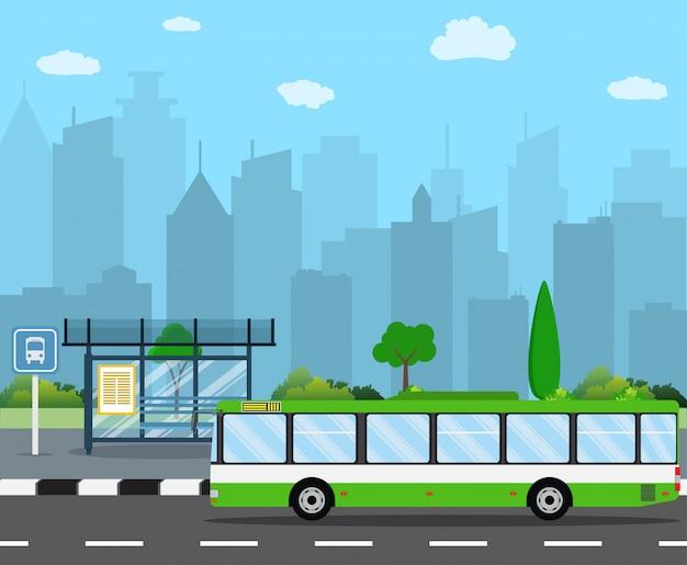 Parada de ônibus com o horizonte da cidade Vetor Premium