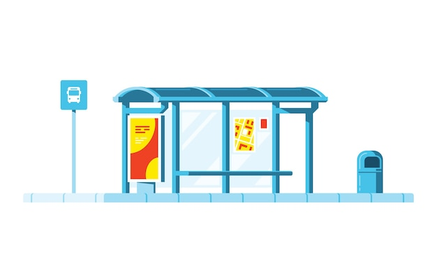 Parada de ônibus com sinal de parada de ônibus e lixeira no fundo branco. . Vetor Premium