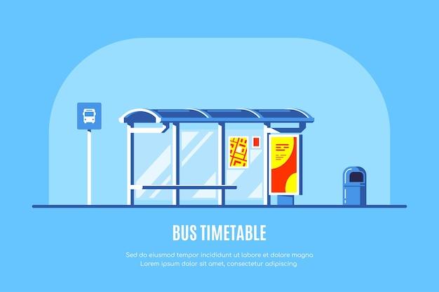 Parada de ônibus com sinal de parada de ônibus e lixeira sobre fundo azul. . Vetor Premium