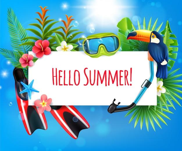 Paraíso tropical férias de verão composição realista com nadadeiras snorkel máscara de mergulho toucan pássaro quadro convite Vetor grátis
