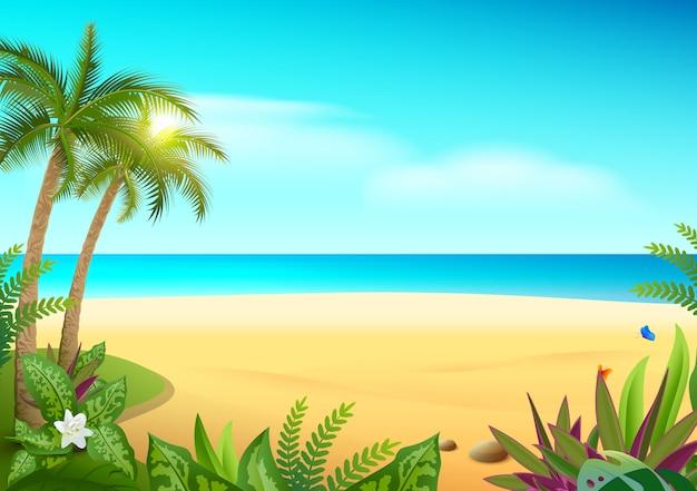 Paraíso tropical ilha praia, palmeiras e mar Vetor Premium