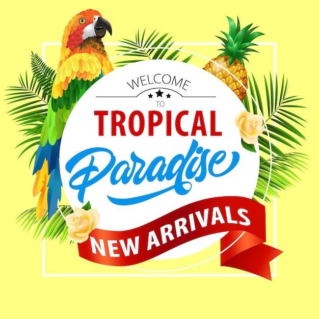 Paraíso tropical, nova chegada letras com papagaio. oferta de verão Vetor grátis