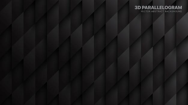 Paralelogramos 3d fundo tecnológico abstrato escuro Vetor Premium