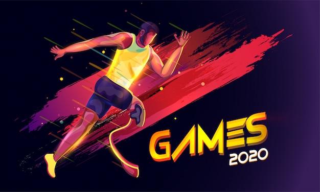 Paraolímpico sem rosto que corre com efeito de luzes e efeito de pincelada nos jogos olímpicos de 2020, pretos. Vetor Premium