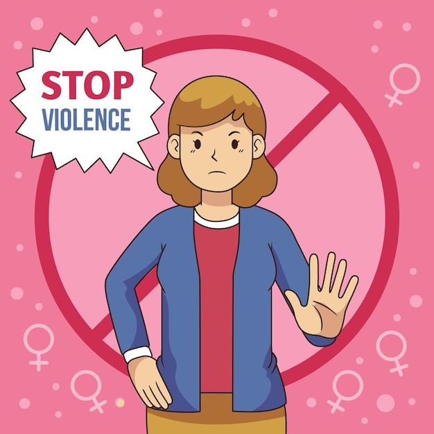 Parar o tema da violência de gênero Vetor grátis