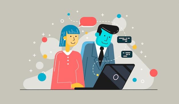 Parceiros de negócios de inicialização trabalhando juntos na área de trabalho. jovem empresária explica ao colega um novo projeto. Vetor Premium