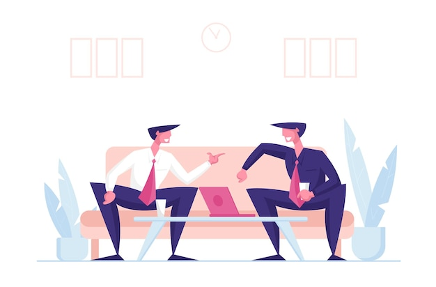 Parceiros de negócios homens personagens negócios conversa no escritório Vetor Premium