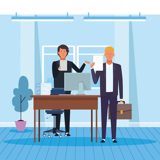 Parceiros de negócios no escritório Vetor Premium