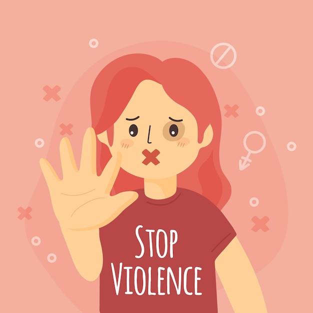 Pare a violência de gênero Vetor grátis