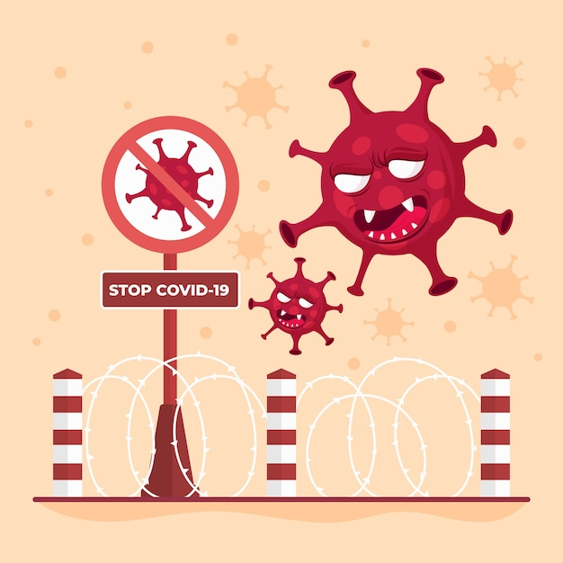 Pare de espalhar o vírus fechando as fronteiras Vetor grátis