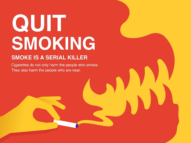 Pare de fumar cartaz de ilustração. Vetor Premium