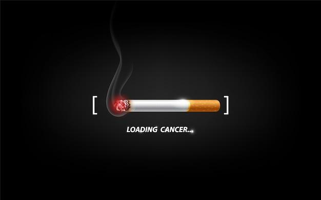 Pare de fumar propaganda de conceito, cigarro queimando como barra de carregamento de câncer, ilustração Vetor Premium