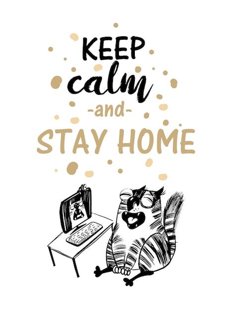 Pare de ilustração de gato coronavirus.funny. Vetor Premium