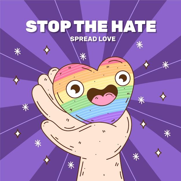 Pare de ilustração de homofobia Vetor grátis