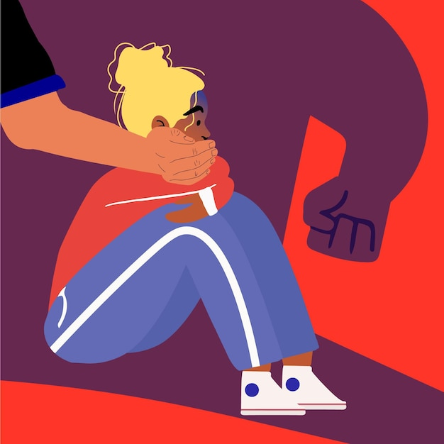 Pare de ilustração de violência de gênero com mulher Vetor grátis