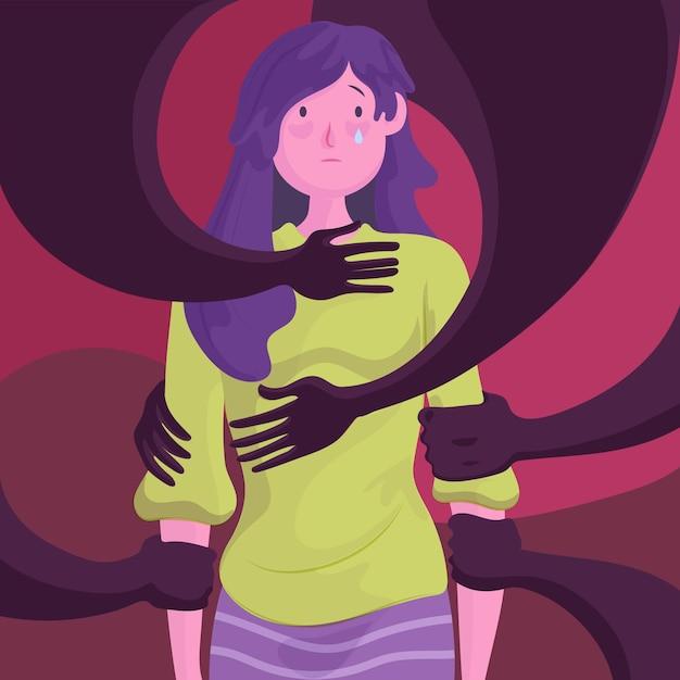 Pare de ilustração de violência de gênero Vetor grátis