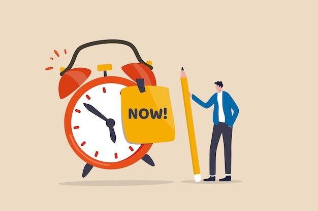 Pare de procrastinação, faça agora ou decida terminar o trabalho ou compromisso no conceito de tempo Vetor Premium