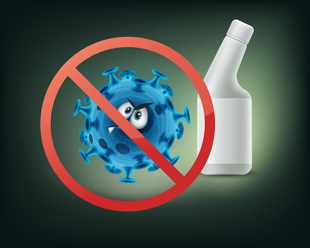 Pare de proibir sinal na bactéria close-up vista frontal isolada no fundo branco Vetor grátis