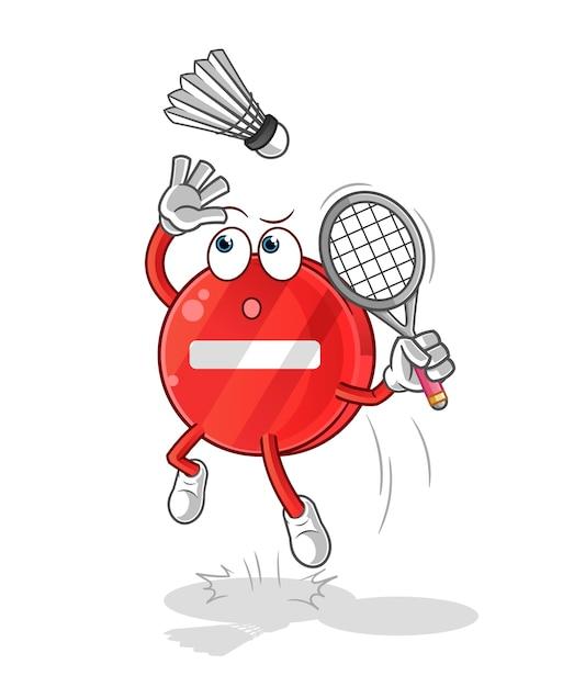 Pare de quebra de placa em desenho animado de badminton Vetor Premium