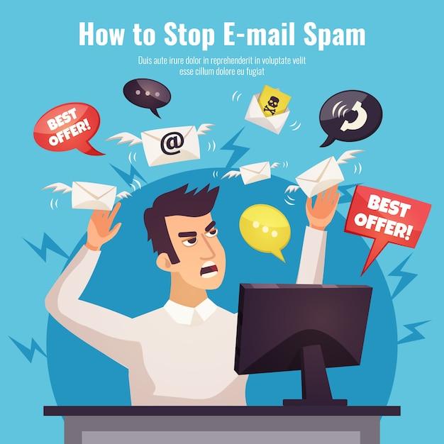 Pare o anúncio do spam pôster Vetor grátis