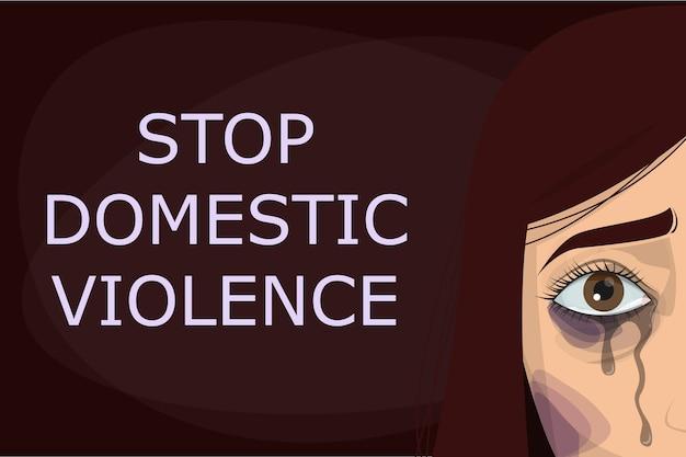 Pare o cartaz de violência doméstica. abuso e agressão na família, mulher chorando Vetor Premium