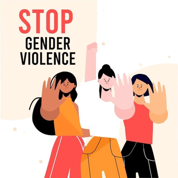 Pare o conceito de violência de gênero Vetor grátis