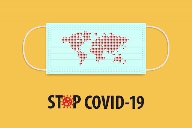 Pare o conceito do covid-19 coronavirus. máscara médica com ponto vermelho informar o mapa do mundo. Vetor Premium