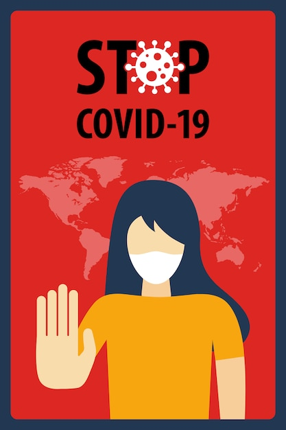 Pare o conceito do covid-19 coronavirus. novo coronavírus (2019-ncov). Vetor Premium