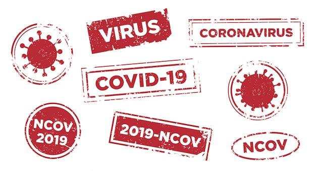 Pare o modelo de carimbo de texto de infecção por vírus. Vetor Premium