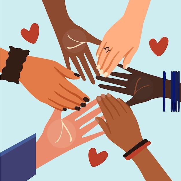 Pare o racismo com as mãos e o coração Vetor grátis